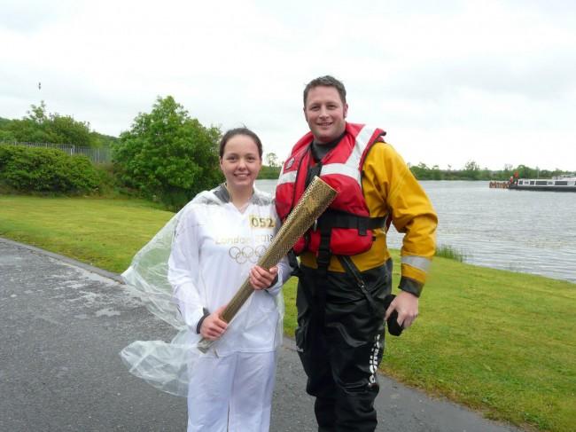 Lough Neagh Rescue Chairman Paul Quinn with Olympic Torchbearer Eorann O'Neill from Crumlin.
