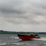 Ardboe Lifeboat escorting the Olympic Torch across Lough Neagh