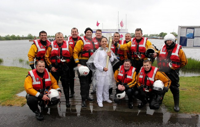 Lough Neagh Rescue crew with the Olympic Torch