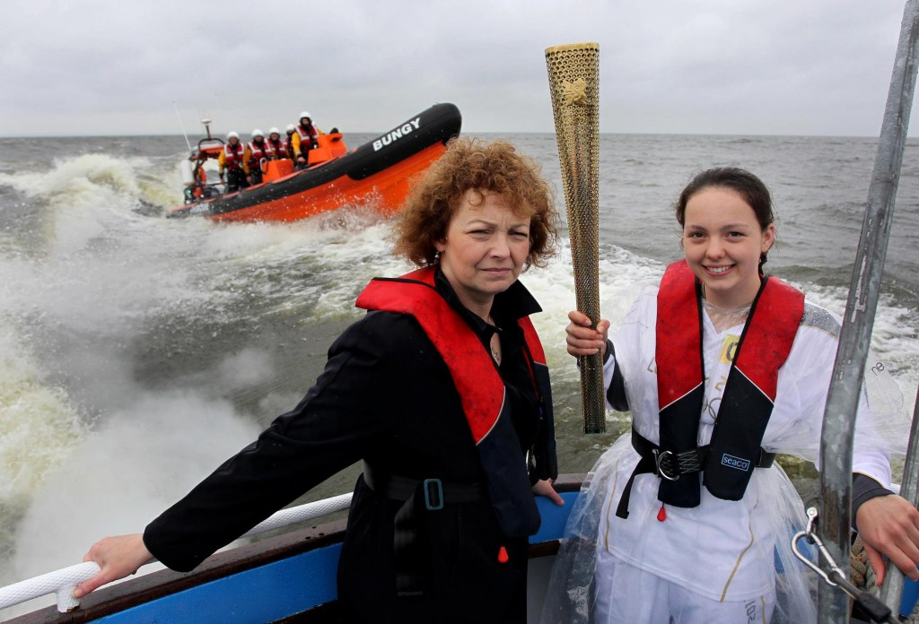 Kinnego Lifeboat escorting the Olympic Torch across Lough Neagh